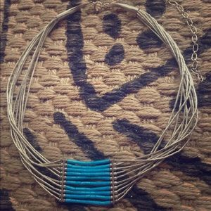 Jewelry - Liquid silver turquoise Native sterling necklace